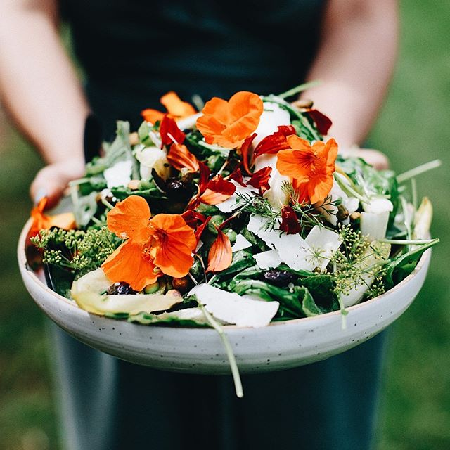 Edible flowers enhancing a summer salad 🌸  #saladideas #edibleflowers #summerrecipes #salad #flowers #summer2019