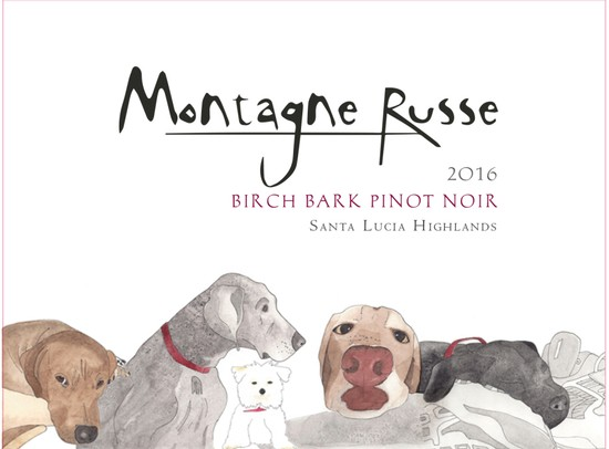 The 2016 BirchBark Pinot Noir label features images of all the dogs who were part of the Montagne Russe Vineyard Family over the years.