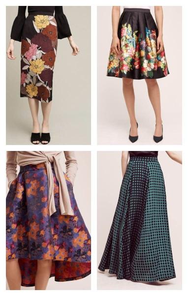 Clockwise:  Berlin Midi Skirt | Garden Party Skirt | Harvest Bloom Skirt | Pilato Maxi Skirt |PHOTOS BY  ANTHROPOLOGIE