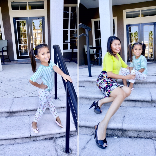 ARIANA'S STYLE:  H&M  STRIPE SHIRT AND H&M FLORAL PRINTED JEANS |MOMMY'S STYLE:  THE LIMITED  SHIRT AND  ANTHROPOLOGIE  SKIRT
