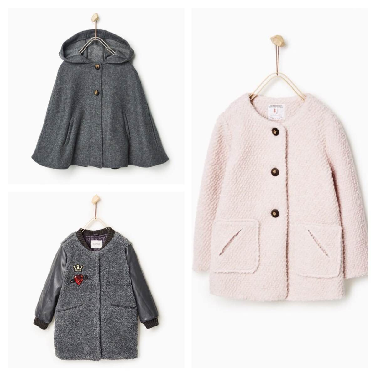 Clockwise: Gray Hooded Cape | Pink Knit Coat | Long fleecy bomber jacket | photos and jackets by  Zara