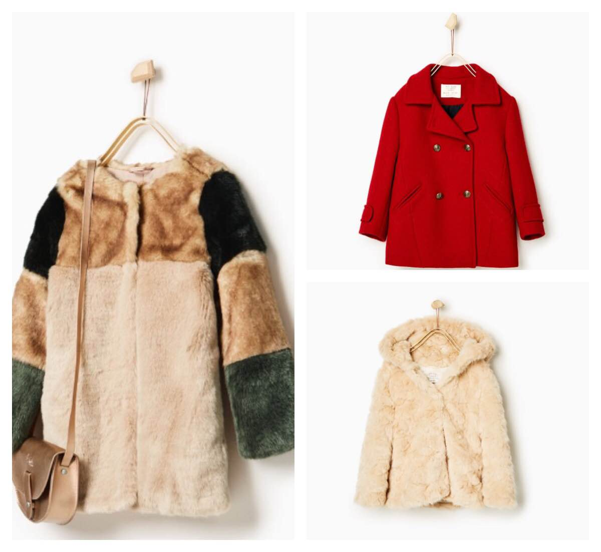 clockwise: Nautical button 3/4 length coat | furry hooded coat | colorful faux fur jacket |  photos and jackets by  Zara