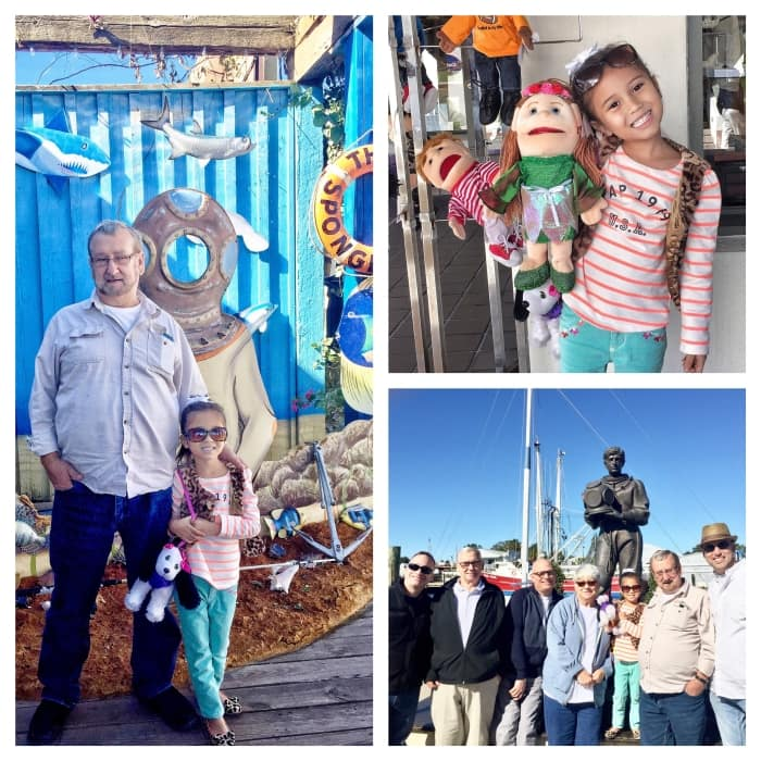 Clockwise:  Ariana with her Papaw Arvil at The sponge factory; playing with puppets sold at one of the gift shops and with the rest of the family for a customary photo shoot in front of the divers' memorial.