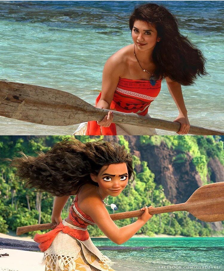 Gladzy Kei left no no detail unchecked to recreate the Moana look, including the use of oars as photo shoot props.