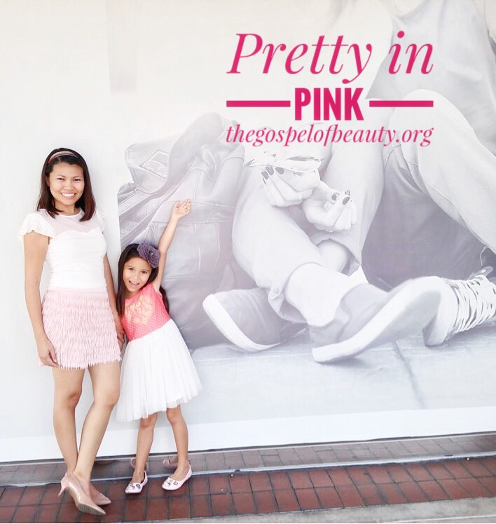 Mommy's Style:  White heart-shaped top with pleat sleeves and fringe skirt in blushing pink by  Express . Nude pumps by  Nine West .