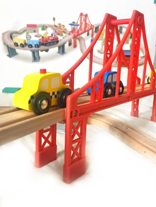 Evoking childhood nostalgia, this elaborate train set comes with 70 premium wooden pieces.