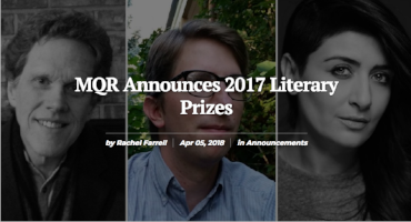 "Apr. 5, 2018 Short story ""The time of old things""  wins the Lawrence Foundation Prize ."