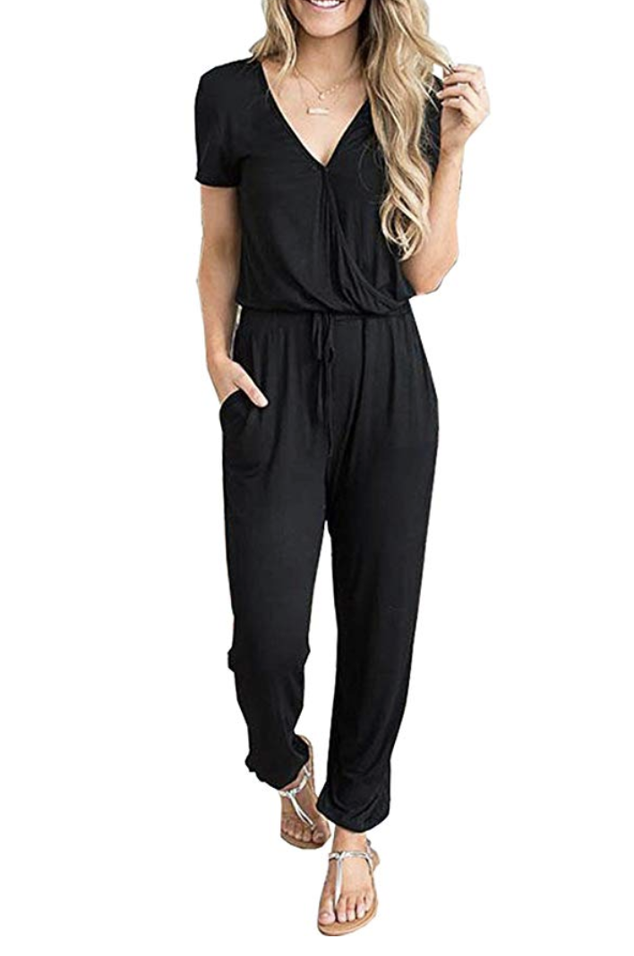 V-Neck Jumpsuit with Tie Waist