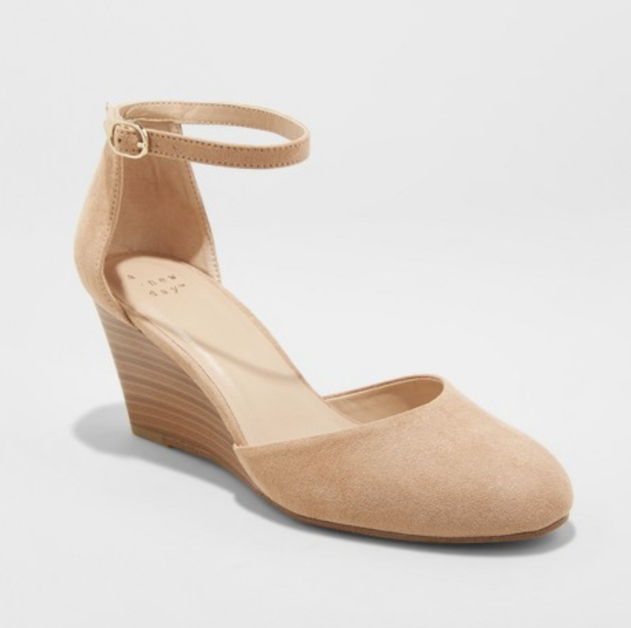Tan Closed Toe Wedge Heels
