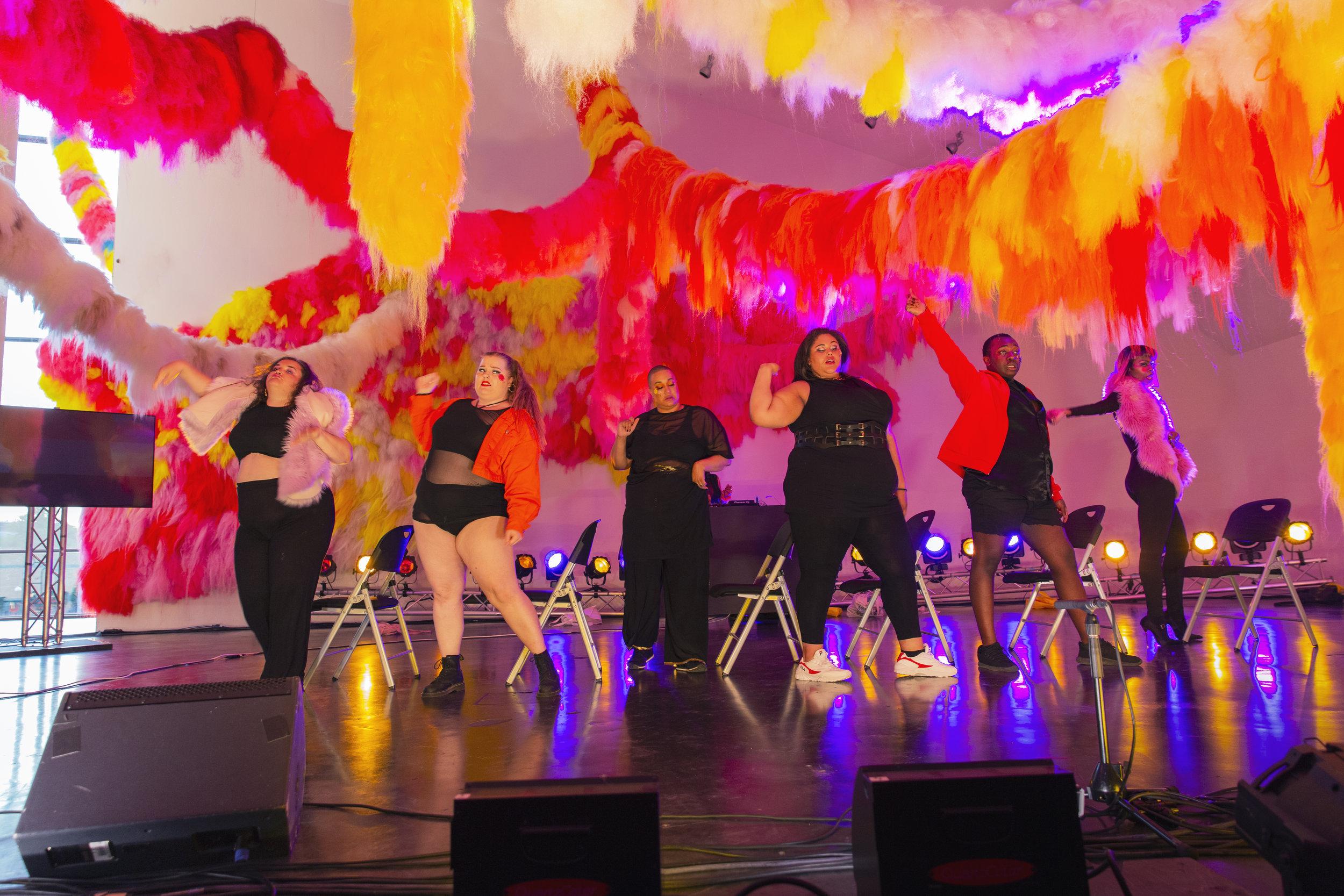 Meriam Trabelsi, Aino Tervo, Caroline Suinner, Adasha Moore, Glen Odhiambo, Angel in a piece directed by Sophia Wekesa