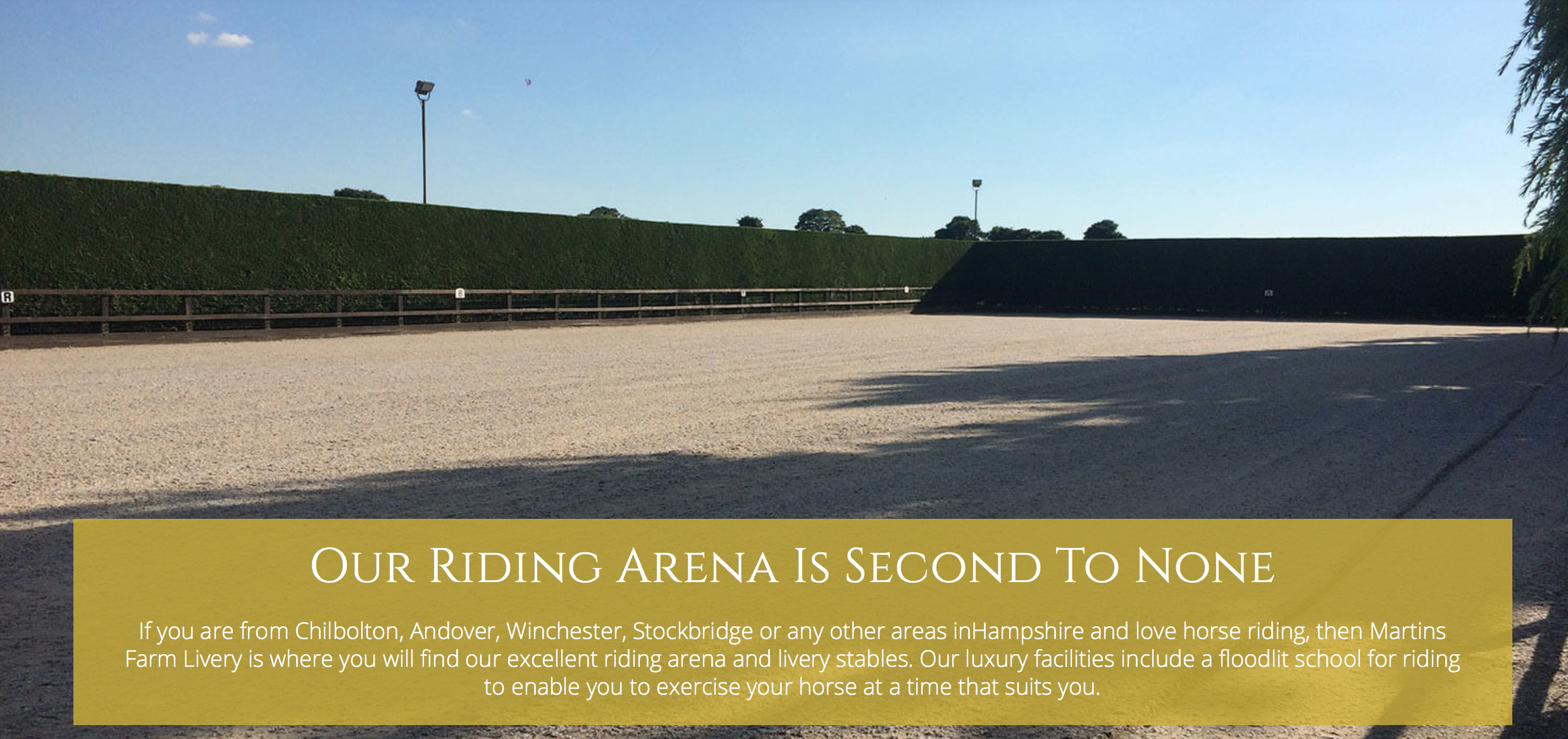 Hire a local arena - Travel fees will be not be charged at this venue (Martin's Farm Livery) in Chilbolton - click on the image for more details.