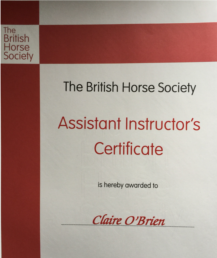 Claire is a fully qualified BHS Coach