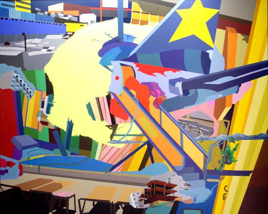 Franz Ackermann, Gelbe Wolke, 2008 oil on canvas 354 x 283 x 5 cm, © Meyer Riegger