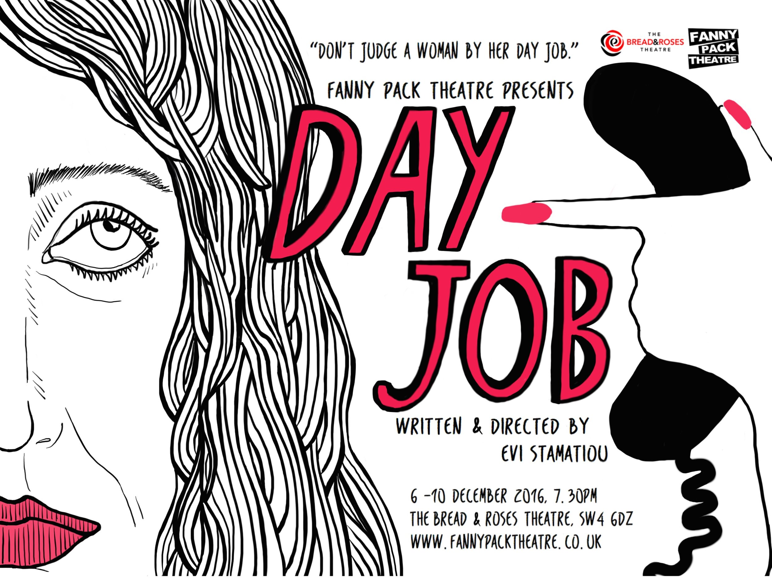 "Advertising poster for ""Day Job"", a production by Fanny Pack Theatre"