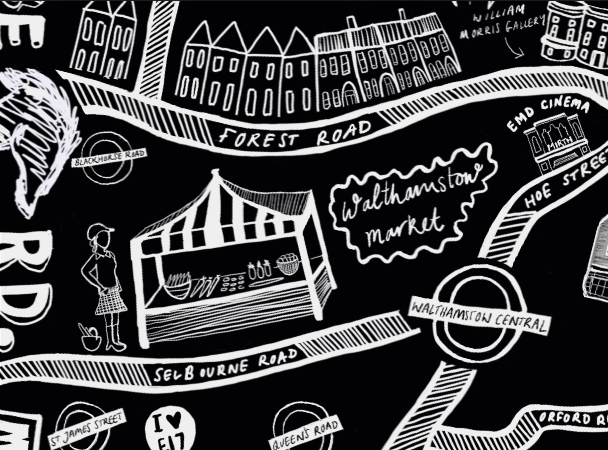 Snippet from a hand-drawn map of Walthamstow (London E17)