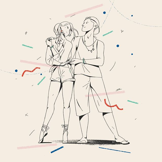 """""""Say thank you, kiss and change' is the dance school's motto @pdlondon_official for when you change dance partners, during class. I actually like to apply it for many more things in life. You can do the same for animation projects! """" Illustrations + words by Moth director/co-founder @Margaux_scanatovits"""