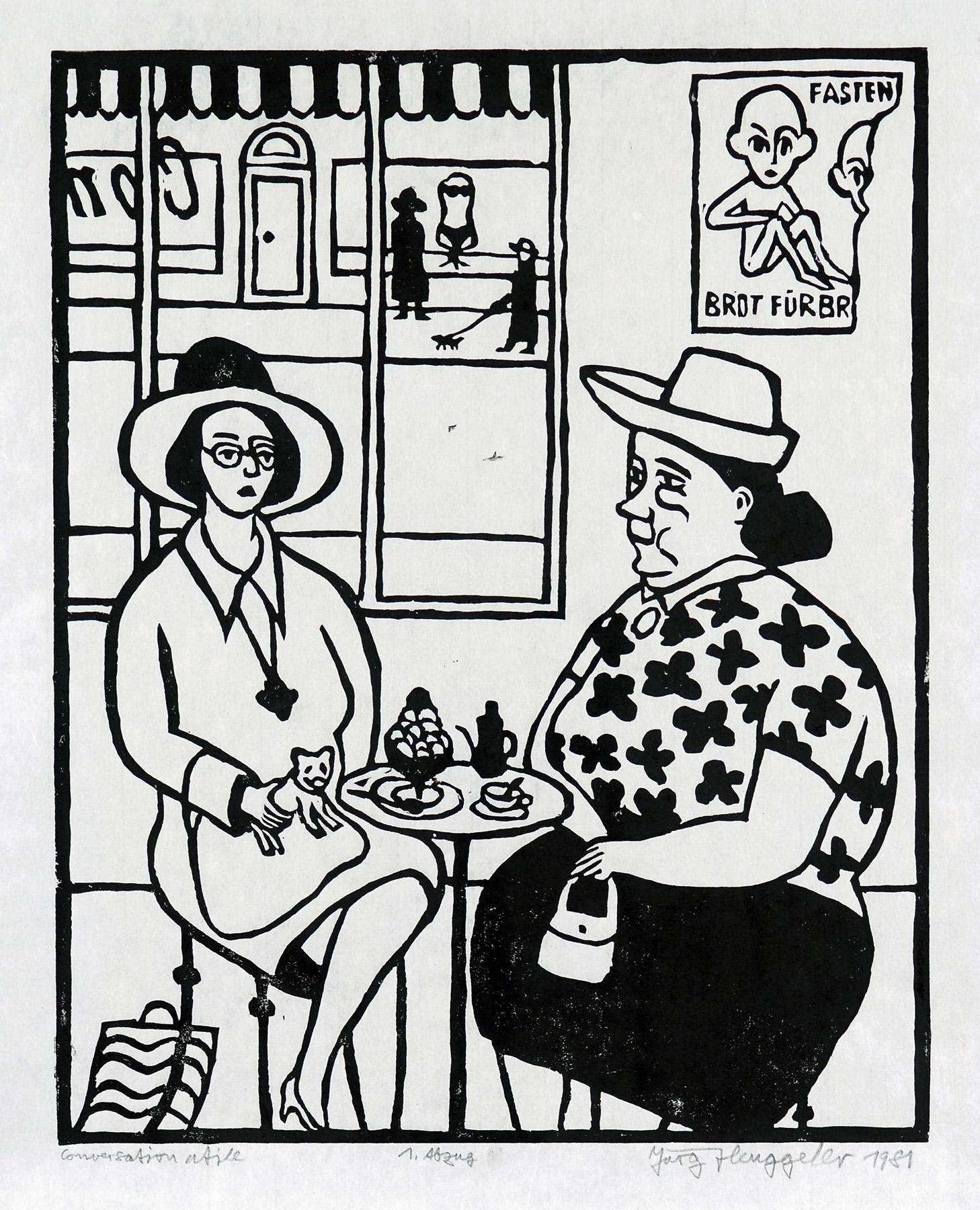 Conversation utile, 1981. Holzschnitt. 62 x 50cm