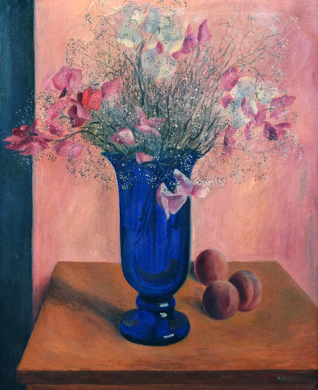 Stillleben mit Blumen in blauer Glasvase und drei Pfirsichen, 1927. Öl auf Leinwand. 61 x 50cm