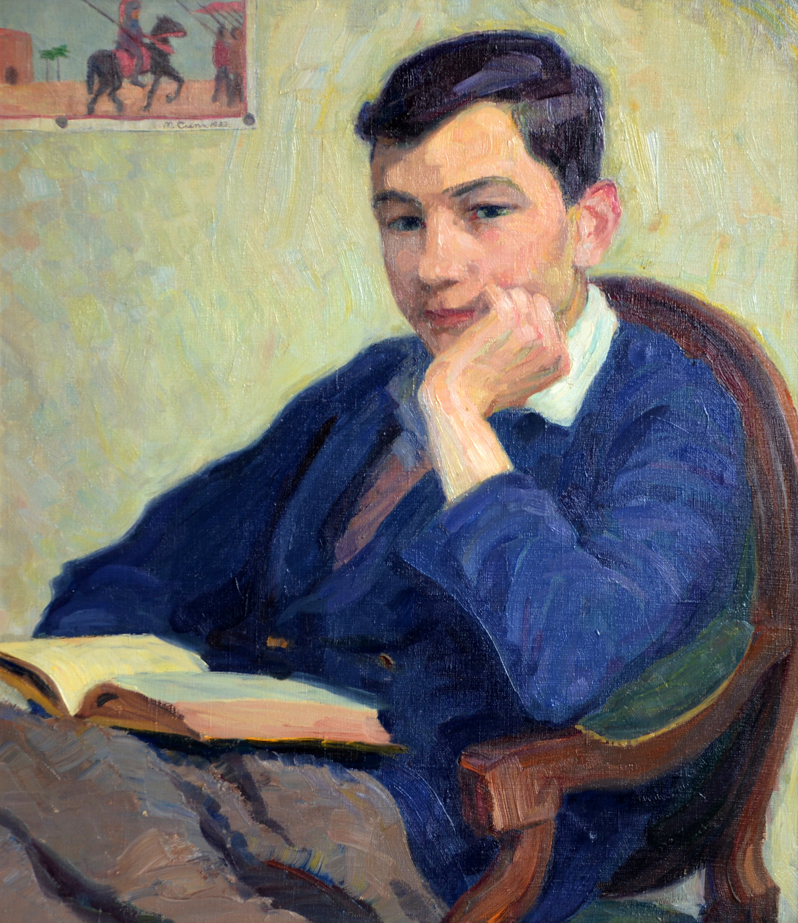 Porträt Eugen Cunz lesend, 1933. Öl auf Leinwand. 66 x 58