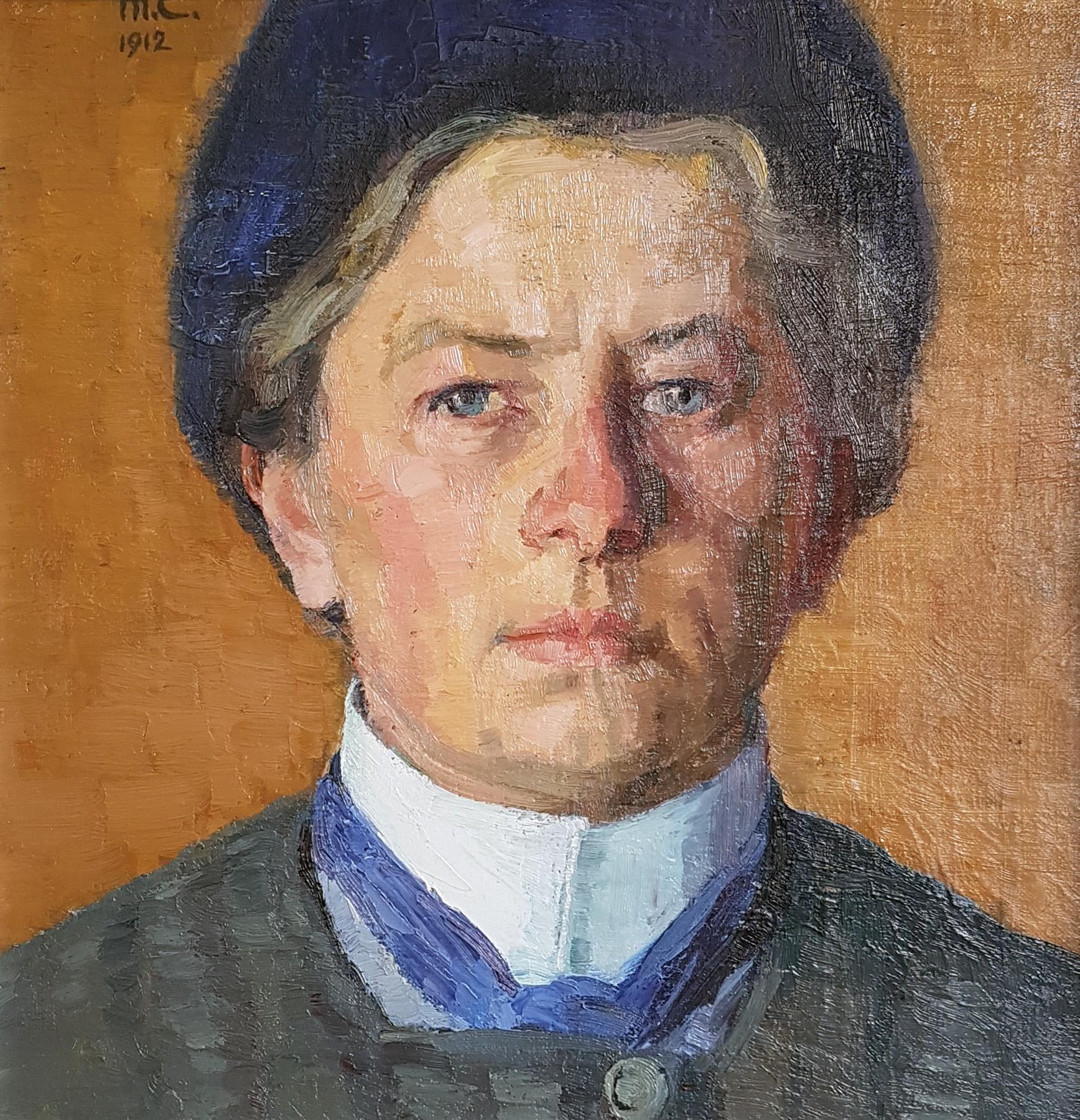 Selbstporträt mit blauer Mütze, 1912. Öl auf Pavatex. 32 x 31cm