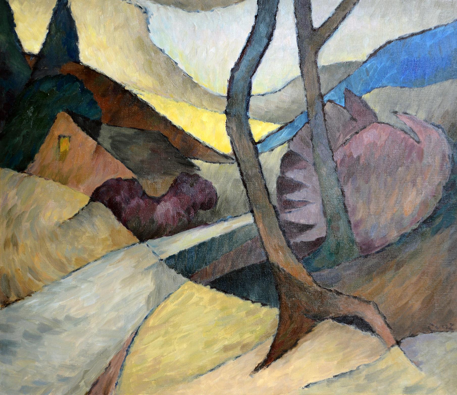 November - Strasse - grau/gelb/purpur, 1984. Öl auf Leinwand. 70 x 80cm