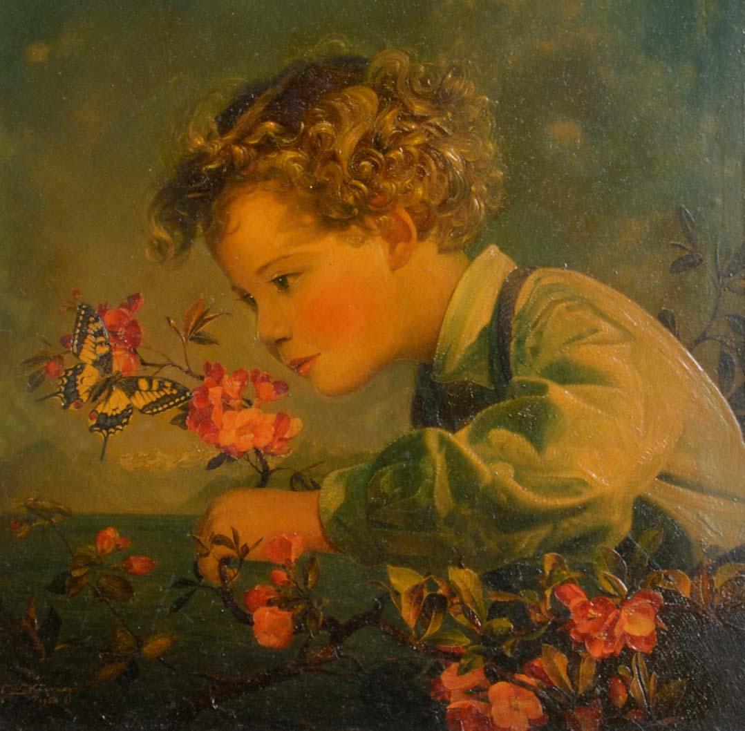 Knabe mit Schmetterling, 1958 überarbeitet 1985. Öl auf Leinwand über Spanplatte, links unten signiert und datiert: W. Küng 1958. 39 x 36