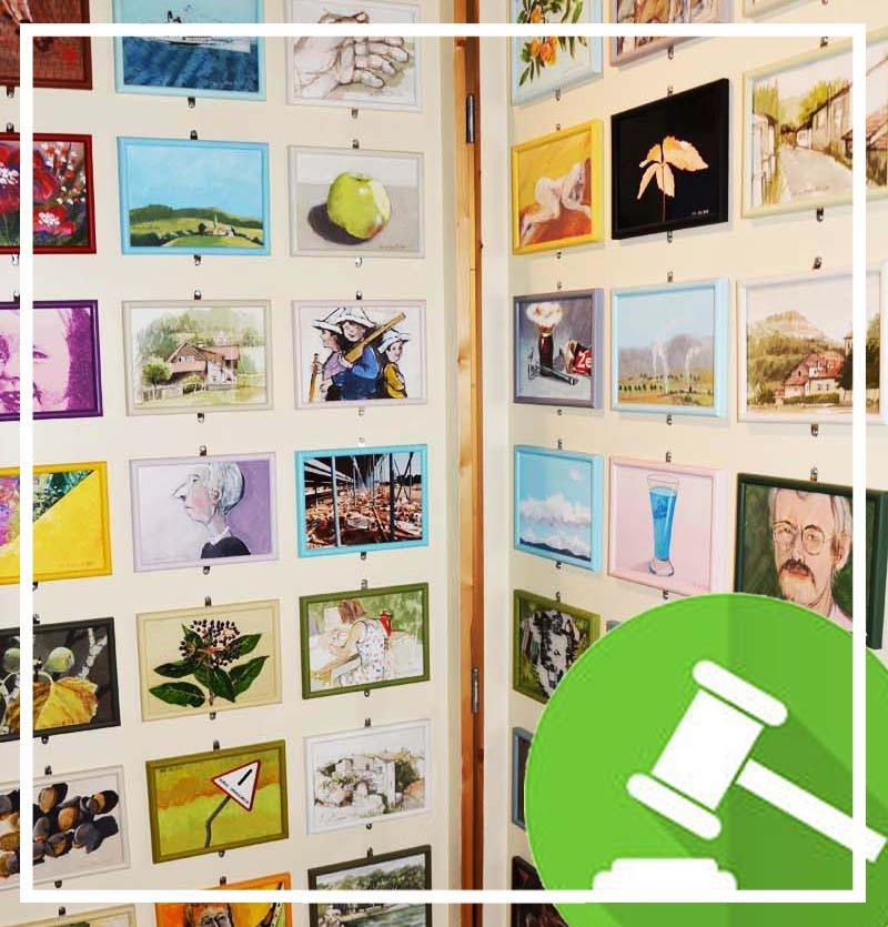 Bilder-Tagebuch, 1983. 365 Bilder, für jeden Tag eines. Verschiedene Techniken, jeweils rechts unten signiert und nummeriert. Vier Bilder pro Monat (jeweils zwei Fotografien) stammen von seiner Ehefrau Marianne Blum, sowie die farblich abgestimmten Bilderrahmen.