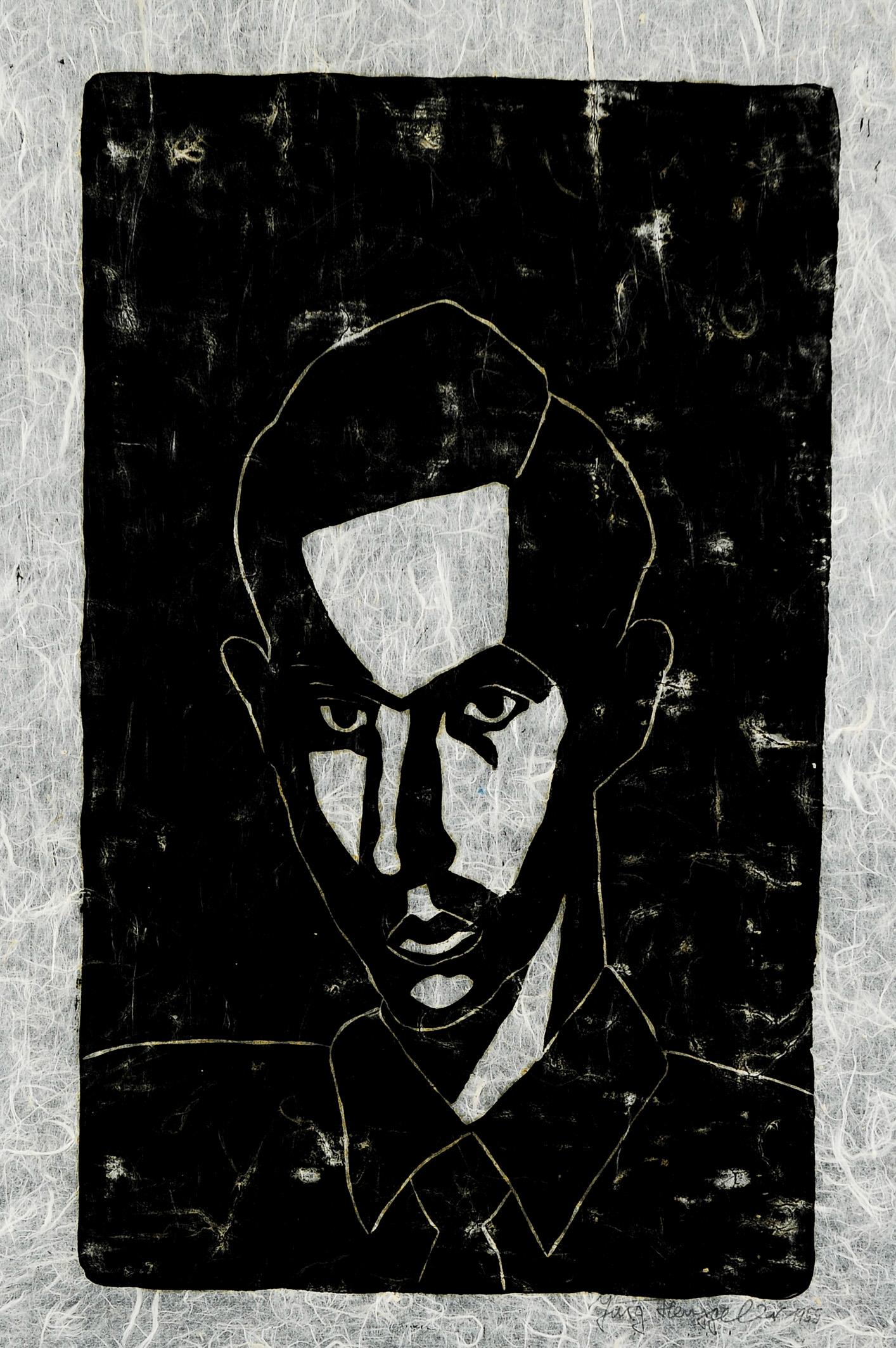 Selbstporträt, 1955. Holzschnitt auf Japanpapier, links unten bezeichnet.