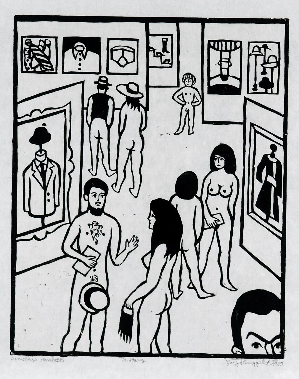 Vernissage renversé, 1983. Holzschnitt. Exemplar: B 1/5, links unten bezeichnet.
