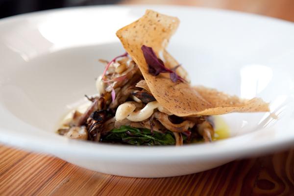 Warm wild mushroom salad, truffle vinaigrette, mushroom paper