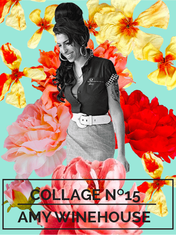 Collage No. 15 // Amy Winehouse by Phylleli #design #graphicdesign #amywinehouse #designblog #freelancedesigner #vintagedesign #flowerdesign #editorialdesign #designblog