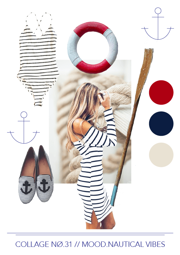 Collage No. 31 // Mood Nautical Vibes by Phylleli #collage #moodboard #design #graphicdesign #nautical #maritime #fashion #editorialdesign #artdirection #colorpalette #designblog #freelancer #designer #anchor #thecollageseries