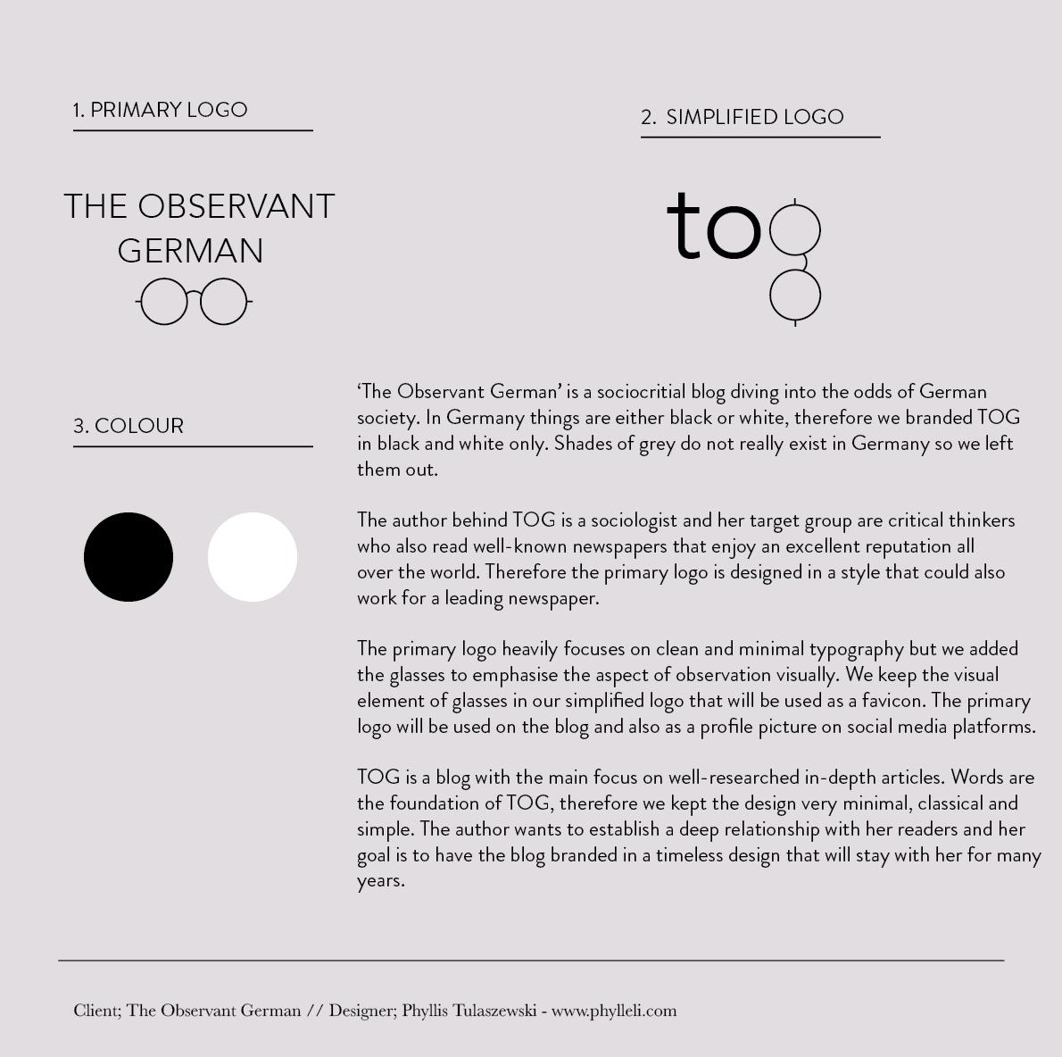The Observant German Branding by Phylleli #branding #brandplan #logodesign #graphicdesign #TOG #theobservantgerman