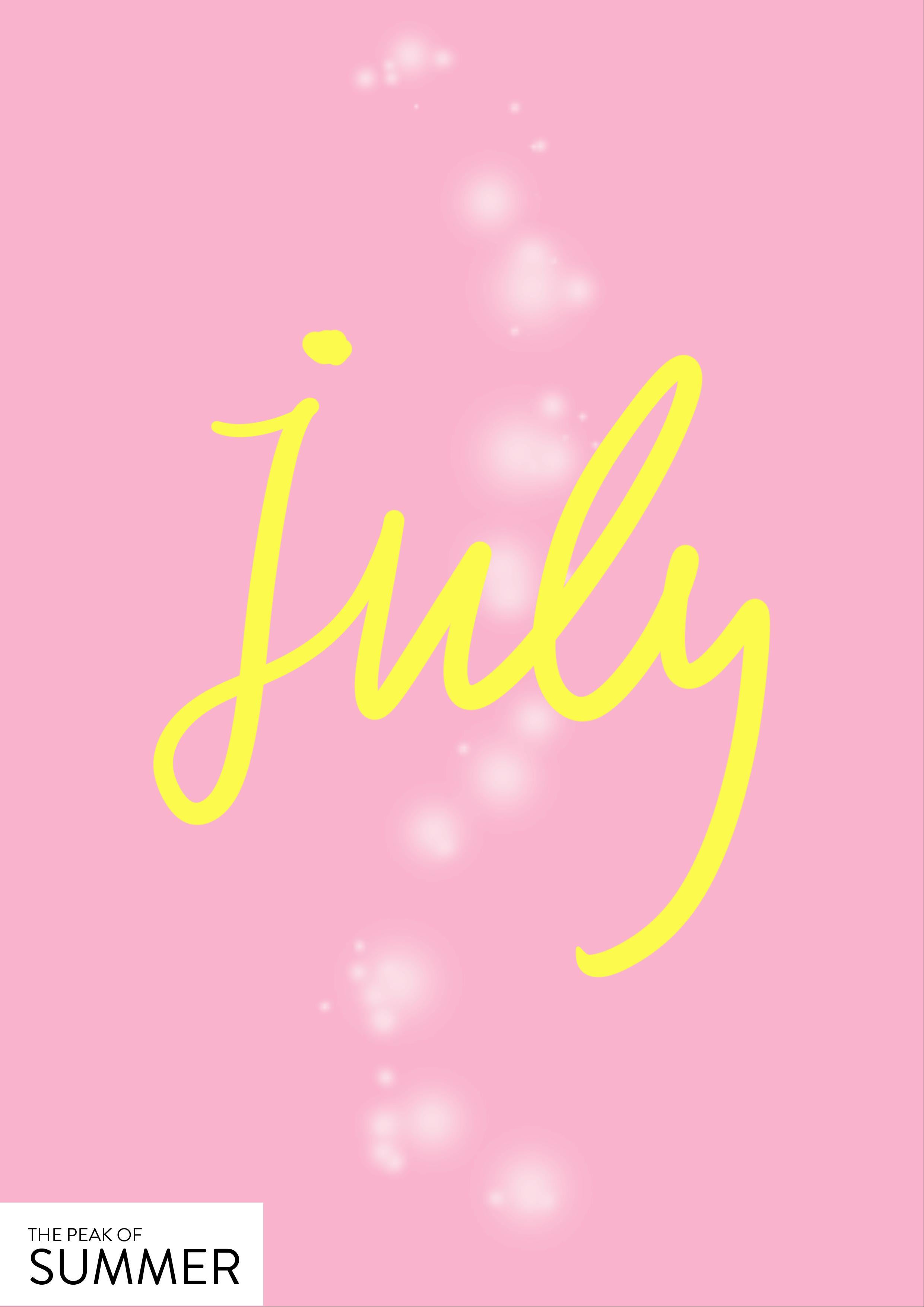 July - the peak of Summer // Phylleli Design Studio, Online-Shop and Self-Care Blog #design #graphicdesign #designstudio #lettering #branding #creativity #colorful #poster #layout #designer #graphicdesignblog #illustration #poster #summer #selfcare #selfcareblog #mentalhealth #selflove #selfrespect