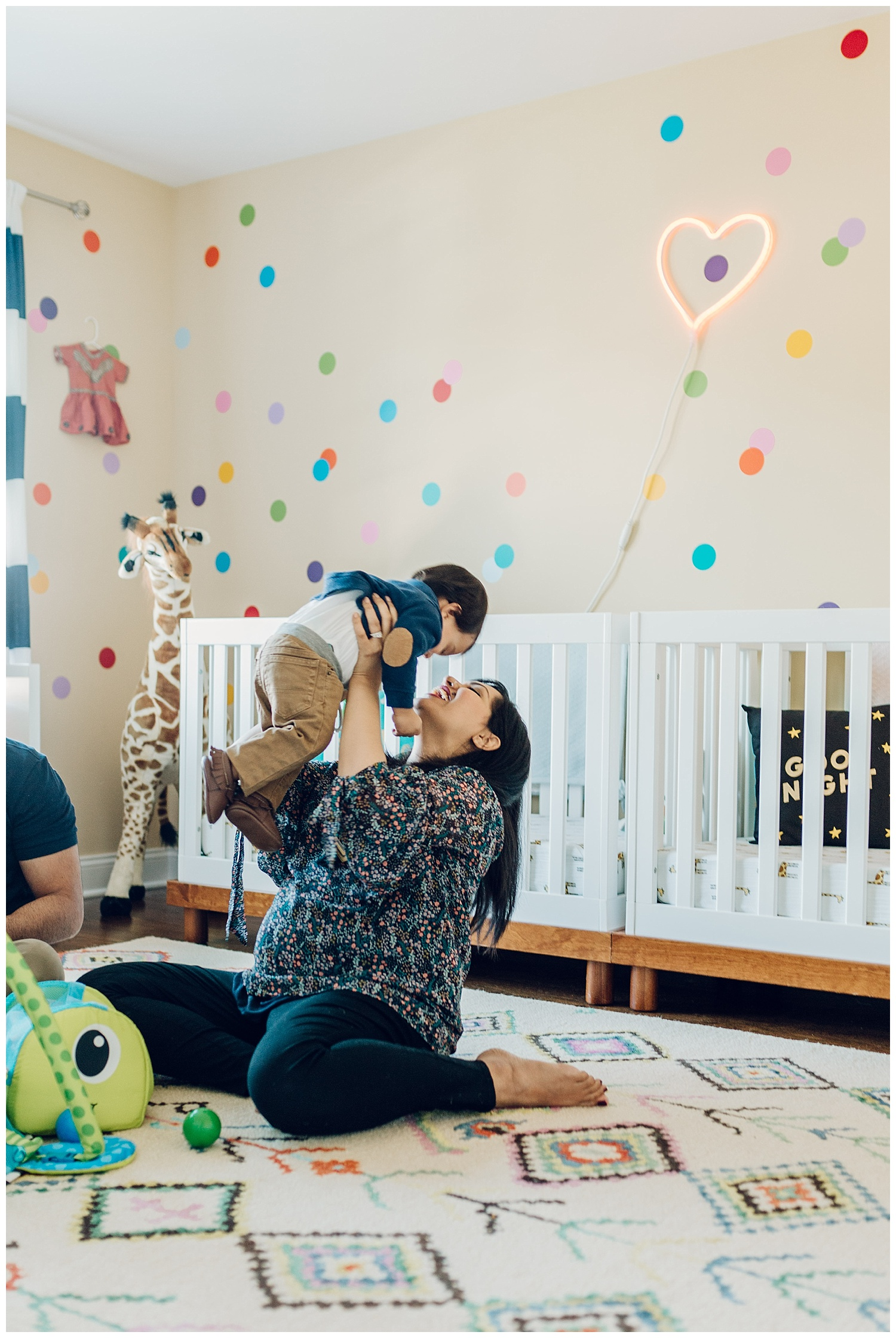 sweet baby and mama in nursery by laura barr photography