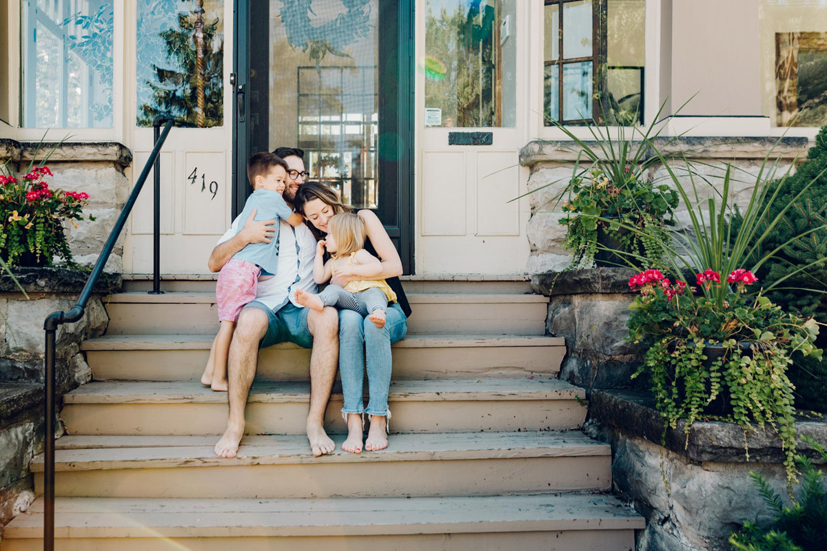 front stoop in home family session by laura barr in fairfield county ct
