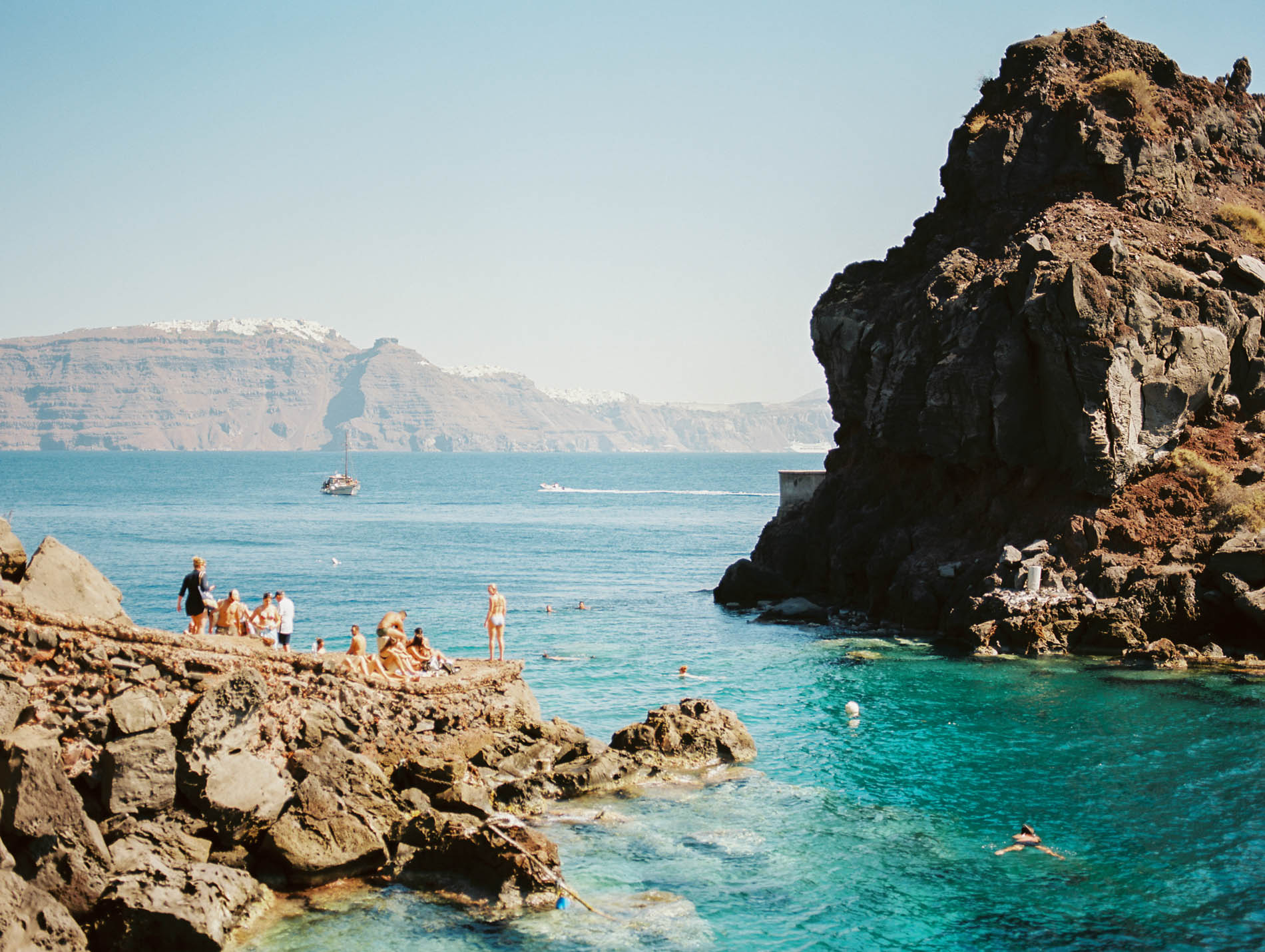 swimmers in santorini by laura barr