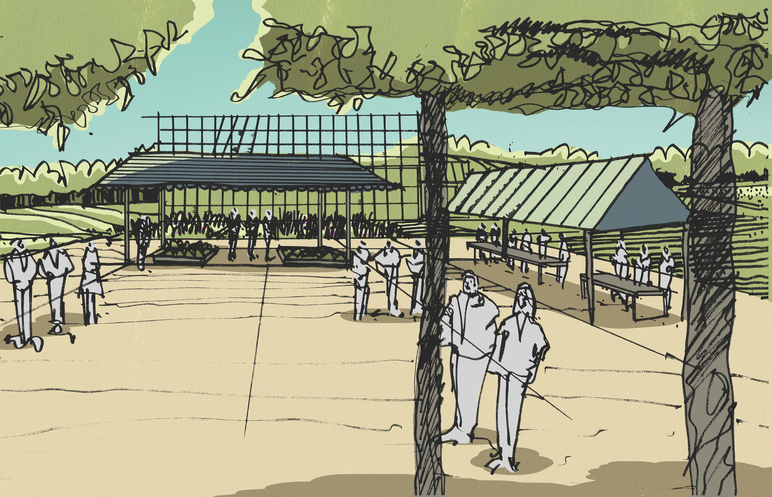 Conceptual drawing of market area.