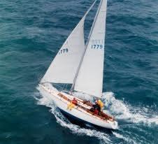 """George & Carol Brush on their sloop, """"Hot Foot""""Opera House Regatta Nantucket, 1999"""