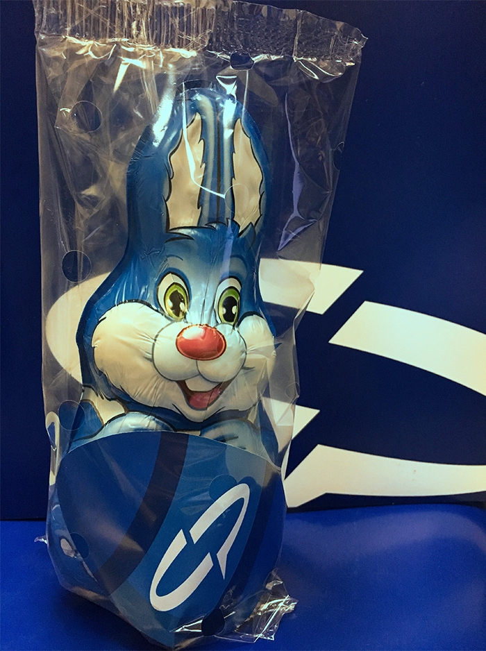 Easter Bunny that has been Flow Wrapped with perforated GrowPack Flow Wrapping film.