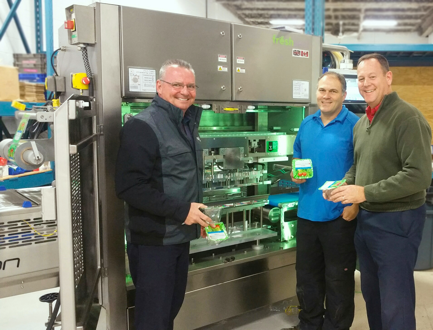Doug Crowe, Sam Capson and Stuart Jackson with Packaging Automation Revolution Machine