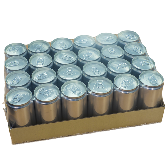 A cardboard tray of beer cans wrapped in shrink wrap packaging.