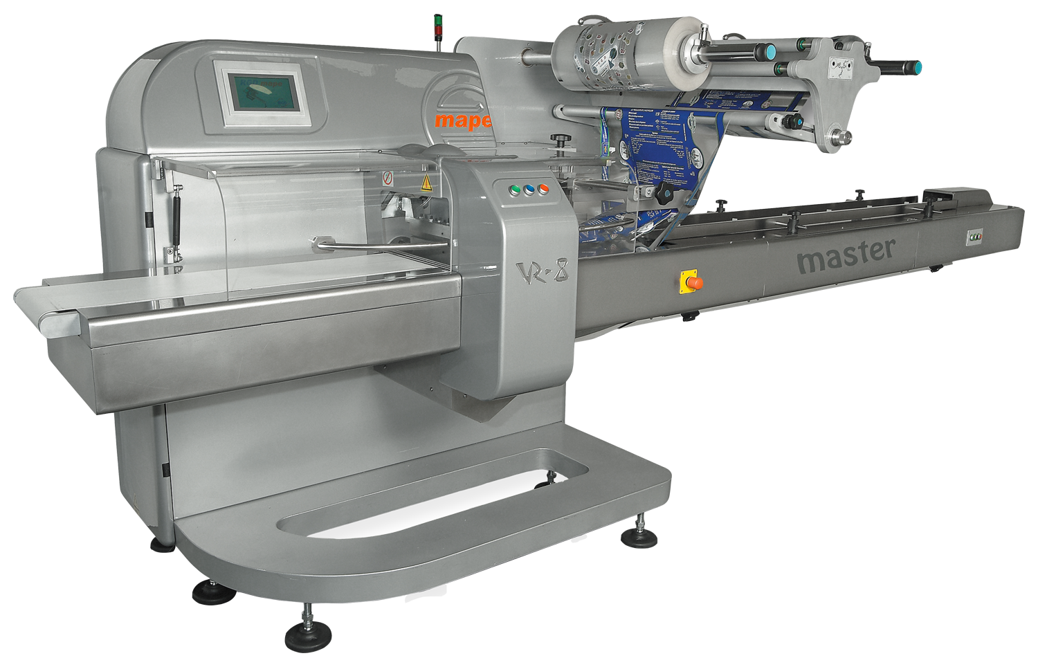 RGD Mape VR-8 Master Flow Wrap Machine with a roll of loaded heat seal lidding film.