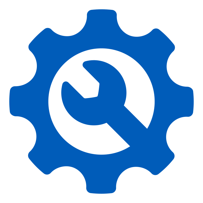 Blue gear icon