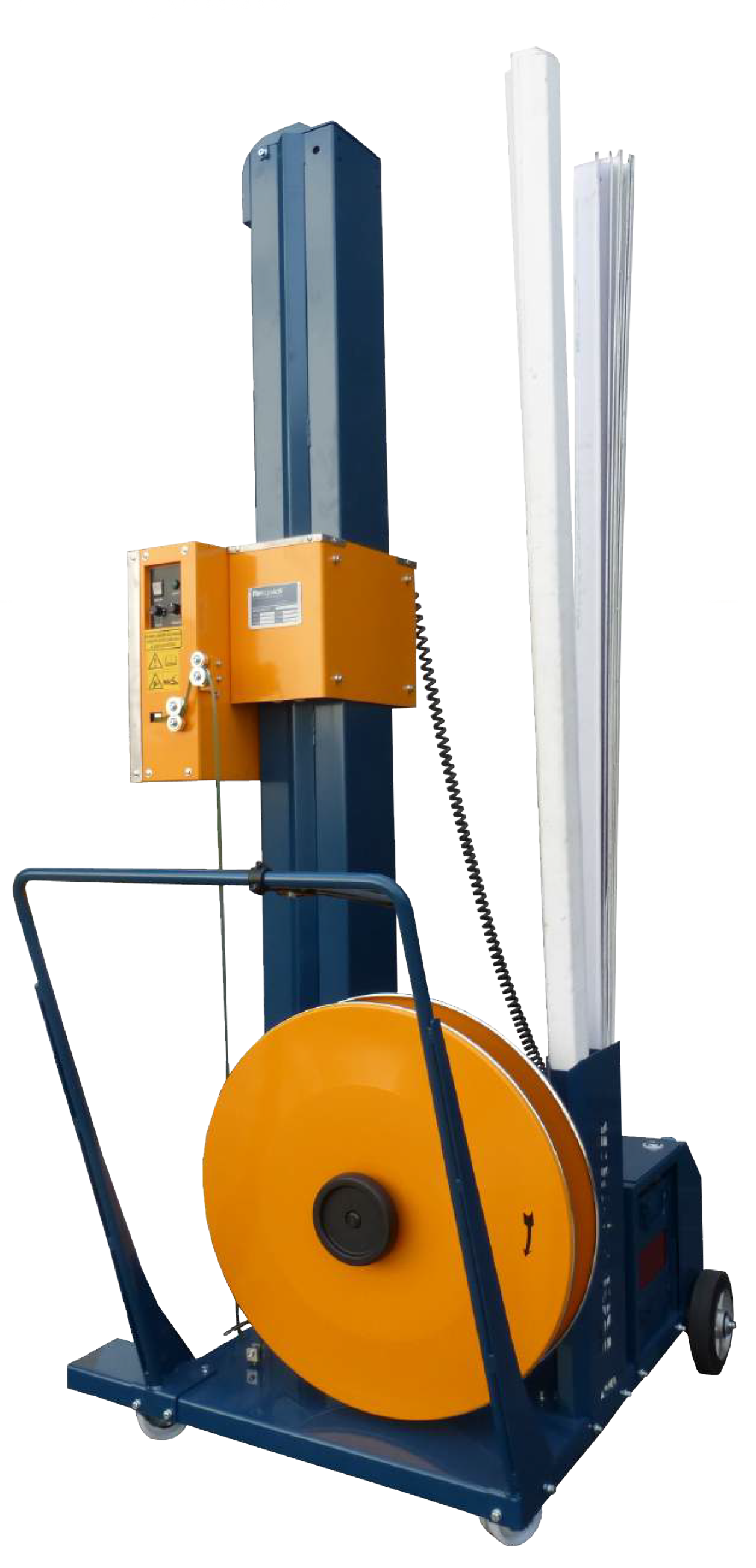 A piece of semi-automatic Strapping Equipment that is on a rolling platform so it can be moved from strapping job to job.