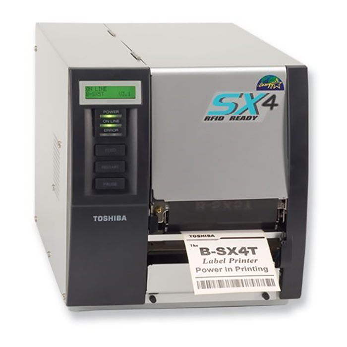 A thermal transfer printer ejecting a recently printed label.
