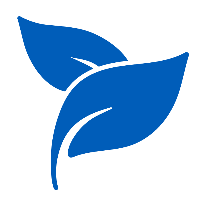 2 blue leafs to symbolize the enviromentall benefits of case labeling machines.