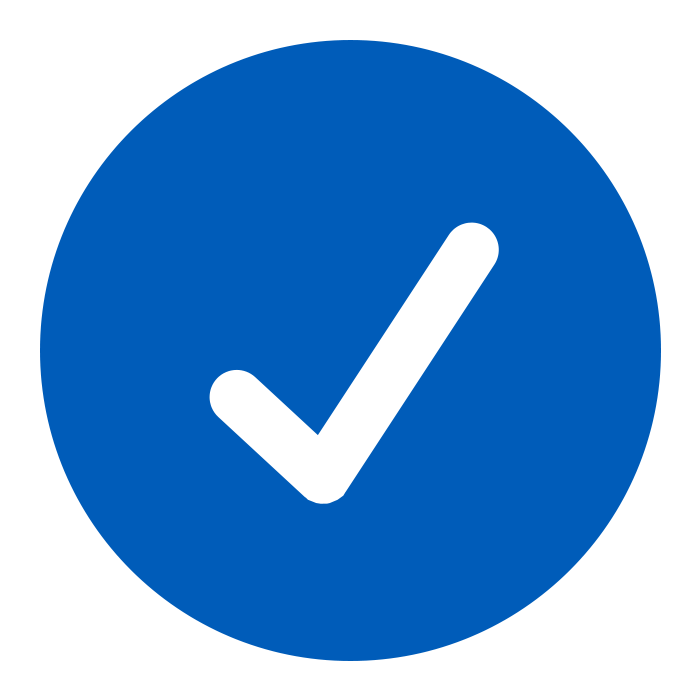 A blue check mark to show the benefits of bubble on demand packaging.