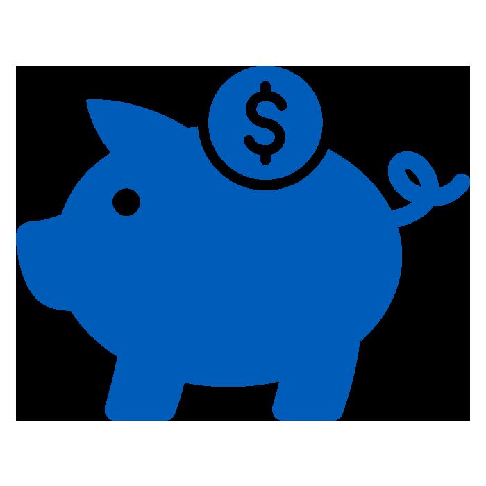 Blue Piggy Bank Icon to Symbolize Saving Money