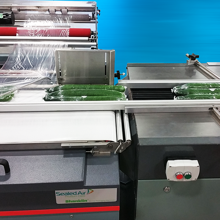 PackFlight Conveyor Attached to Sealed Air Shanklin Shrink System Wrapping English Cucumbers